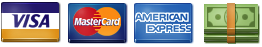 We accept Visa, Mastercard, AMEX and cash.